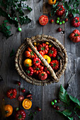 A basket of heirloom tomatoes