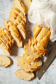 French style baguettes sliced into thin rounds