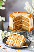 A slice of vegan cookie butter layer cake with cookie butter frosting in front of the entire cake
