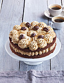 Vienesse tart (gateau) with coffee crem and caramel whipped cream