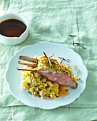Lamb cutlets with herb crust and potato mash