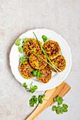 Millet patties with herbs