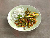 A bean medley with rice