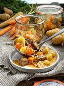 Preserved beef stew with parsnips and carrots