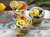 Sweet-and-sour preserved courgettes