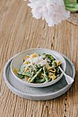 Cauliflower Alfredo pasta with asparagus