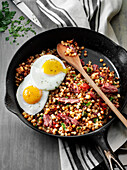 Corned beef hash and fried eggs