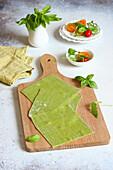 Raw rocket pasta sheets for lasagne