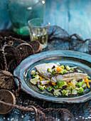 Dorada en papillote with fresh vegetables