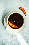 Hot chocolate dessert with spices