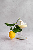 Lemon Posset with labneh and meringue