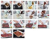 Brownies with dark chocolate and raspberries - step by step