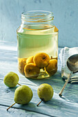 Homemade preserved wild pears