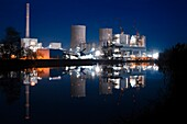 Hard-coal-fired power plant construction site at night