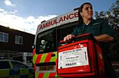Emergency medical technician transporting human blood