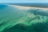 Seagrass beds and sandspits along coastline, Mozambique