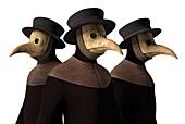 Plague doctors, illustration