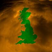 Pollution over Great Britain, conceptual illustration