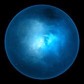 Blue glowing nebula ball, abstract illustration