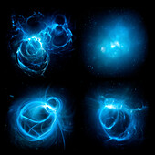 Glowing plasma energy objects in space, illustration