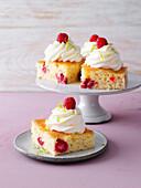 Eggnog cake with raspberries and lime sprinkles