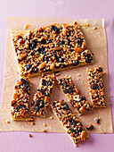 Nutty shortcrust tray bake cake with cranberries