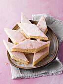 Lemon cake cut into lozenges