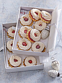 Christmas Linzer rings with meringue