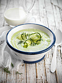 Cold cream of cucumber soup