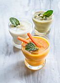 Cream of carrot, courgette and melon soup