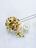 Yuca fries with herb dip