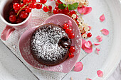 Chocolate Lava Cake with currants