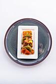 Shish kebab with paneer and peppers