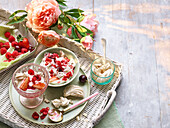 Eton Mess with fresh berries on a basket tray