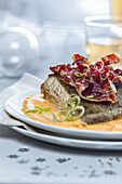 Turbot with ham on pepper cream (Christmas)