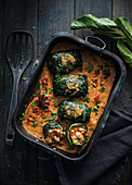 Chard parcels stuffed with prawns