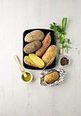 Potato varieties - floury potato, sweet potato, firm potato