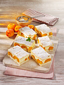Apricot pudding cake from the tray