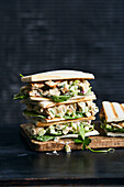 Grilled tramezzini with chicken celery salad