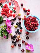 Fresh summer fruits - berries and cherries