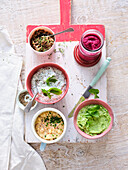 Vegetarian spreads made of peas, mushrooms, herbs, curd cheese and beetroot