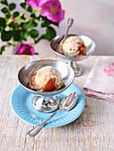 Vegan oat-almond ice cream with rose hip pulp