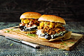 Pulled Turkey Burger and Pulled Jackfruit Burger with Mango Chutney