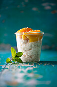 Thai coconut rice with mango and sesame seeds