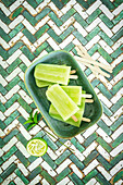 Popcicles with Moroccan mint, honey, lime and cucumber water