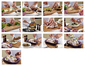 Baked chicken with plum stuffing - step by step