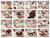 Chocolate cake with currant cream - step by step
