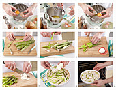 Asparagus quiche with ham - steps by step