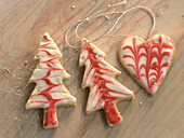 Shortbread biscuits as Christmas tree ornaments