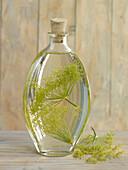Dill vinegar in glass bottle